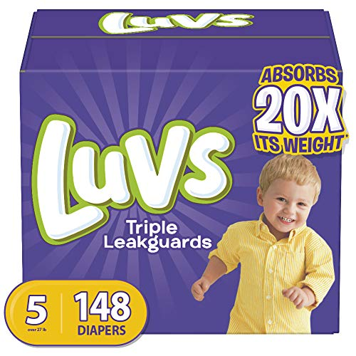 Diapers Size 5, 148 Count - Luvs Triple Leakguards Disposable Baby Diapers, ONE MONTH SUPPLY