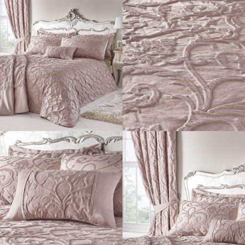 Homespace Direct Bentley Blush Woven Jacquard Duvet Cover Bed Set, Double