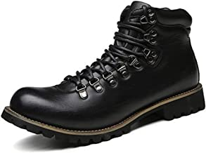 Xujw-shoes store, 2019 Mens New Lace-up Flats Ankle Boots for Men Combat Boot Lace up Microfiber Leather Side Zipper Burnished Style Studs Non-Slip Round Toe Stitch Military Durable Comfortable Black