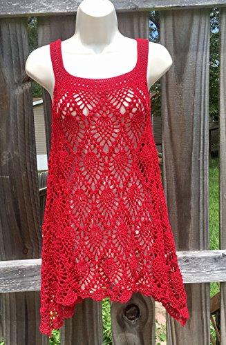 Handmade Crochet Lacy Summer Tunic - Dark Red - Adult Medium to XLarge