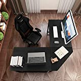 DlandHome L-Shaped Computer Desk 59 inches x 59 inches, Composite Wood and Metal, Home Office PC Laptop Study Workstation Corner Table with CPU Stand, Black and Black Legs, ZJ02-BB