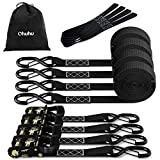 Ratchet Tie Down Straps with Safety Clip 4-Pack 1.5' x 15' & 4 Soft Loops - 1100 lbs Load Cap 3300 lbs Breaking Limit, Ohuhu Ratchet Tie Downs Logistic Cargo Straps for Moving Appliances, Motorcycle