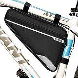 フレームバッグ 自転車 トライアングル型バッグ サイクルバッグ (ブラック)