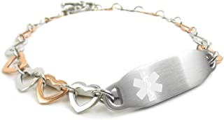 Pre-Engraved & Customizable Blood Type O Women's Toggle Medical ID Bracelet, Steel Hearts | Made in USA