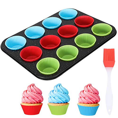 Nonstick Bakeware 12 Cups Muffin Pan with Silicone Cupcake Liners (Set of 24),Premium Nonstick Baking Muffin Tin and Muffin Cups for Oven Baking