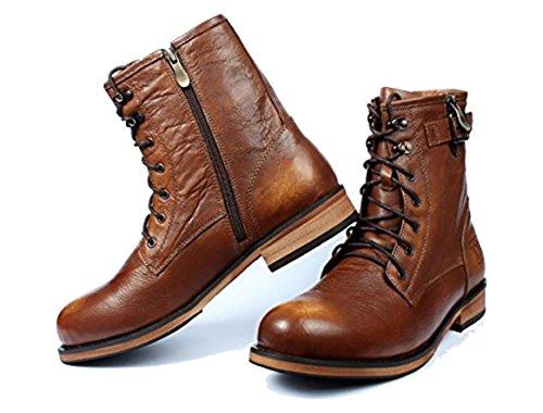 [MIAOW] レースアップ マーティンブーツ 革靴 軍靴 メンズ ワークブーツ エンジニアブーツ ショートブーツ 本革 透湿 25.5cm