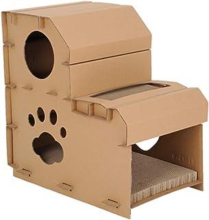 段ボール製 猫の家 スクラッチャー ベッド洞窟 ネストラウンジ 子猫 段ボール紙 カートン スクラッチボードパッド 耐久性 環境に優しい ペット インドア コンドー