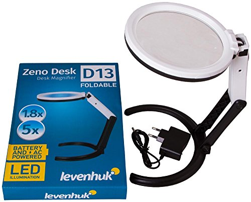 Lupa Plegable Levenhuk Zeno Desk D13 con Iluminación por LED, se Transforma...