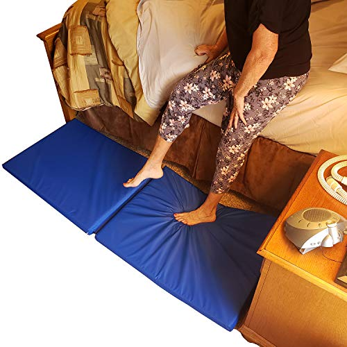 Roscoe Medical Fall Mat - Bedside Fall Floor Mat for Safety Protection - Folding Vinyl Floor Mat for Elderly, Senior, Handicap  Reduce Risk of Impact Injury and Anti Fatigue from Standing - Blue