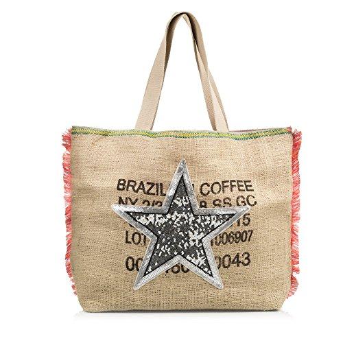 Firenze ARTEGIANIWoman Handtas gemaakt van jute stof met een ster detail op de voorkant en franjes op de zijkanten. Shopper Bag. Dames schoudertas 33x28x20 cm. Kleur: bruin.