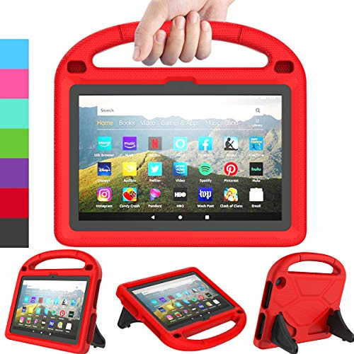 LEDNICEKER Kids Case for All-New Fire HD 8 & Plus 2020 - Lightweight Shockproof Handle with Stand Kid-Proof Case for Amazon Fire HD 8 inch Tablets (Latest 10th Generation 2020 Release)-Red
