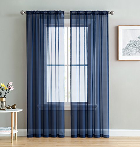 HLC.ME Navy Blue Sheer Voile Window Treatment Rod Pocket Curtain Panels for Bedroom and Small Windows (54 x 63 inches Long, Set of 2)