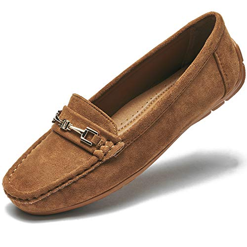 COOL COSER C Women's Casual Comfort Loafers Slip on Flat Shoes(Brown 10)