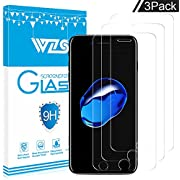 """WZS iPhone 6, 6S, 8, 7 Screen Protector, [3-Pack] Premium Tempered Glass with 99.99% HD Clarity and 3D Touch Accuracy, Tempered Glass Screen Protector for iPhone 6S, iPhone 6,iPhone 8, 7 [4.7"""" inch]"""
