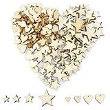 YunBey 400 Piezas Estrellas de madera Corazones de Madera Rodajas Madera Adornos Estrella para la Artesanía de Bricolaje, de la Boda, Navidad y la Decoración de San Valentín