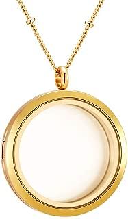Mesinya Memorial Keepsake Floating Charm Toughened Glass Locket Pendant Necklace with Chain