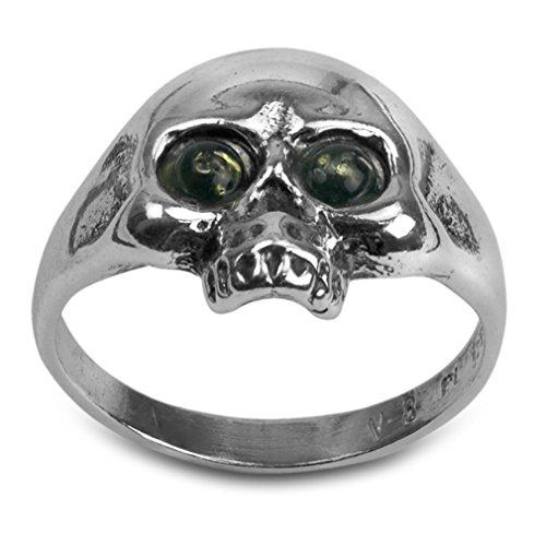 Noda anillo de plata para hombre con ámbar teñido verde bandera pirata talla 24