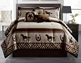 Luxury South Western Pattern Rustic Brown Running Wild Horses & Horseshoe Star Comforter Set - 7 Piece Set (Queen)