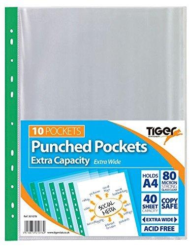 Tiger Klarsichthüllen, Kunststoff, gelocht, glasklar, extragroß, A4, 100Stück
