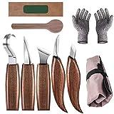 Bainuojia Holz-Schnitzwerkzeug Set, Holz Schnitzmesser mit Schleifsteine und Schnittfeste Handschuhe, 5 teiliges Holz-SchnitHolzschnitzwerkzeugset für Anfänger und Profis