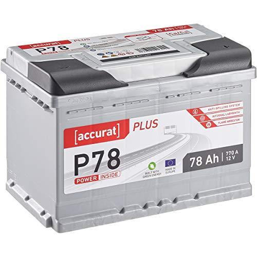 Accurat 78Ah 770A Plus-Serie 12V Autobatterie befüllt & geladen Starterbatterie (wartungsfrei)