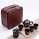 Ksnrang Set da tè da Viaggio in Ceramica in Stile Cinese retrò da Lavoro Borsa per Il Trasporto Riunione Festiva Regalo pubblicitario Personalizzazione Logo-Primavera
