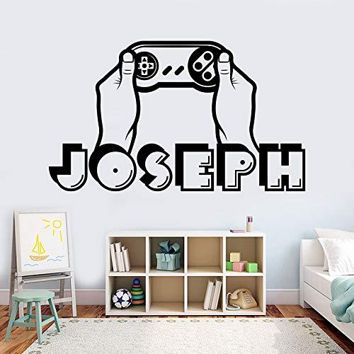 Calcomanía de pared con nombre de niño, pegatina de nombre de jugador personalizada, controlador 3D, calcomanía de videojuego, calcomanía de vinilo extraíble 42x25cm