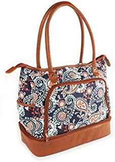 Fit & Fresh Voyager Travel/Commuter Tote Bag with Insulated Section for Lunch, Snacks and Drinks, Carry On, Zippered Shoulder Bag, Navy Orange Paisley