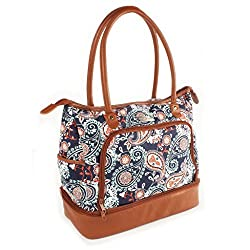 Another great work purse with lunch compartment, Flower patterned ladies casual tote with 3 compartments one for lunch one for shoe and one for essentials