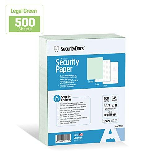 SecurityDocs Security Paper – 8.5 x 11 Inches, 500 Sheet Supply, Copy and Tamper Resistant, Pantograph, Inkjet and Laser Printer Compatible, Federal CMS Certified - Legal Green (59126)