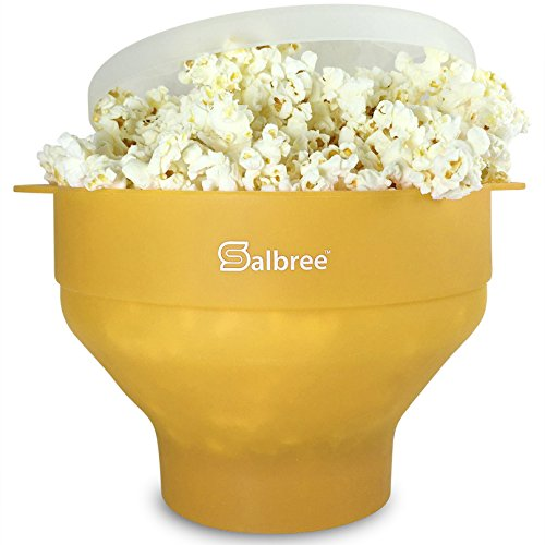 Original Salbree Microwave Popcorn Popper, Silicone Popcorn Maker, Collapsible Bowl BPA Free - 18 Colors Available (Yellow)