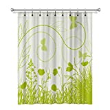 Cortinas opacas con diseño de mariposas y plantas en color verde, cortinas térmicas con aislamiento térmico, 36 x 72 cm