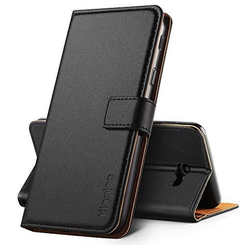Hianjoo Hülle Kompatibel für Samsung Galaxy J4 Plus 2018, Handyhülle Tasche Premium Leder Flip Wallet Hülle Kompatibel für Samsung Galaxy J4+ 2018 [Standfunktion/Kartenfächern], Schwarz