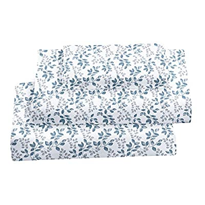 Softan Queen Bed Sheet Set, 4 PC Green Leaves Printed Brushed Microfiber Elegant Bedding Set, 1 Flat Sheet,1 Deep Pocket Fitted Sheet, and 2 Pillow Cases, Breathable & Silky Soft Feeling Sheets