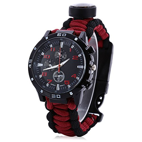 Adahill(TM) Multifuctional Survival Paracord Bracelet Scraper Whistle Thermometer Flint Fire Compass Starter Gear Bangle Watch Men Women (Red)