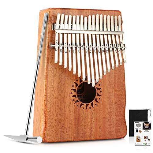 TOOGOO 17 Chiave Kalimba Piano per pianoforte a dita in tinta unita Corpo in mogano DKL-17