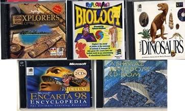 set 6 software: explorers of the new world, exploring biology, microsoft dinosaurs, animal kingdom cd-rom, encarta encyclopedia 98, Broderbund Reading Galaxy Reading Comprehension,