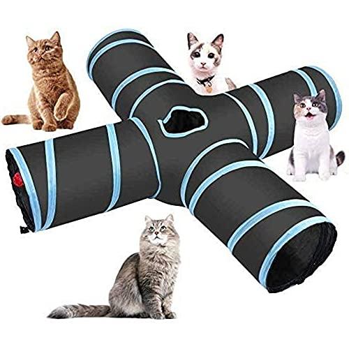 COKAMOZ Way Cat Túnel Juguete Grande Interior Al Aire Libre Plegable Ejercicio Mascotas Tienda Interactivo Divertido Varita