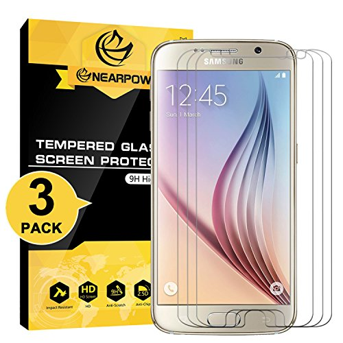 [3 Pack] Samsung Galaxy S6 Screen Protector, Nearpow [Tempered Glass] Screen Protector with [9H Hardness] [Crystal Clear] [Easy Bubble-Free Installation] [Scratch Resist]