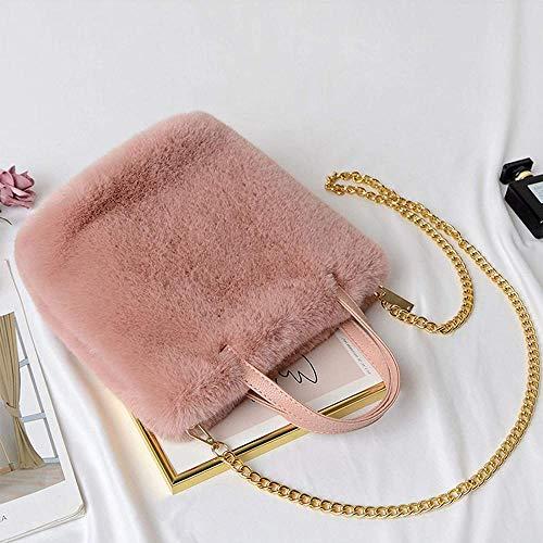 ZSW Fashion Faux Fur Bolsos de Invierno Bolso Bandolera de Hombro para Mujer-Rosado