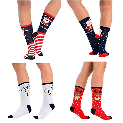 Rjm Damen Socken 6 Pairs Assorted Novelty Designs 37-40 Gr. 37-40, Assorted Ankle Christmas Socks