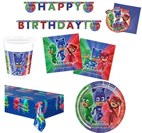 BIGIEMME S.R.L. Coordinato per Feste e Compleanni a Tema pj Mask pigiamini + Monete di Cioccolato (Piatti-Bicchieri-tovaglia-tovaglioli-Festone-inviti) (per 16 Persone)