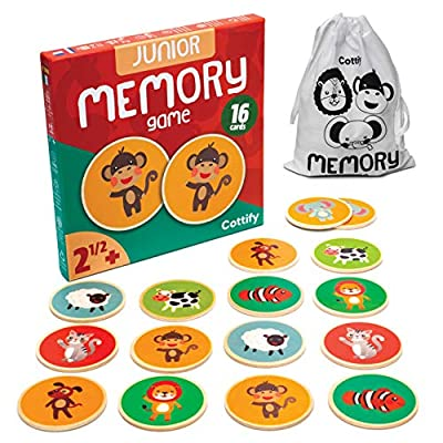 Cottify Wooden Memory Game for Kids 3 and up, Cute Animals, Durable and Safe Memory Matching Game for Kids, Educational Toys for Boys and Girls, Flash Cards from Wood, Toddler Matching Game, 16 Cards