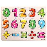 Puzzles de Madera Números,Rompecabezas de Clavijas de Madera de números 0-9 con Clavijas Tablero de Aprendizaje Bloque de Apilamiento de Matemáticas para Niños y Niñas