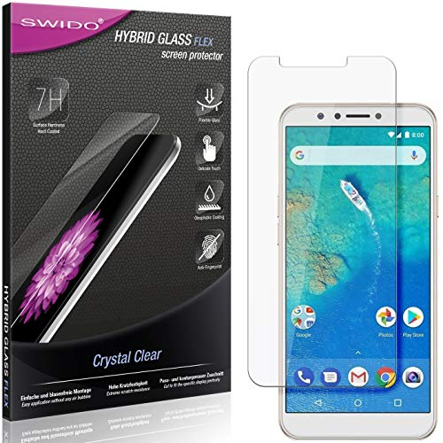 SWIDO Panzerglas Schutzfolie kompatibel mit General Mobile GM 8 Bildschirmschutz-Folie & Glas = biegsames HYBRIDGLAS, splitterfrei, Anti-Fingerprint KLAR - HD-Clear