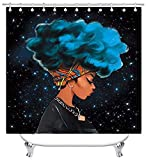 Cortina Ducha Divertida Cool Girl Shower Curtain Waterproof Polyester Afro African American Woman Lady Blowing Bubble Chewing Gum 12 Hooks