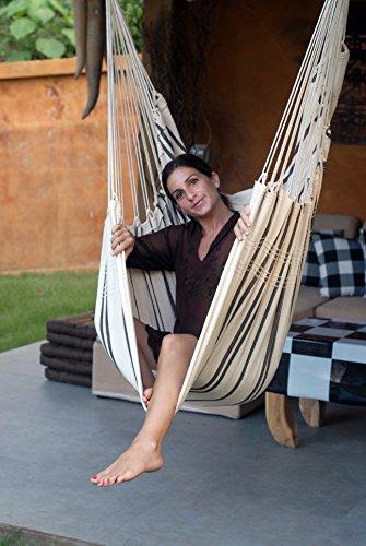 AMAZONAS Großer Hängesessel handgefertigt in Brasilien Brasil Cappuccino mit Querstab aus FSC Buchenholz 110 cm bis 150 kg gestreift - 5