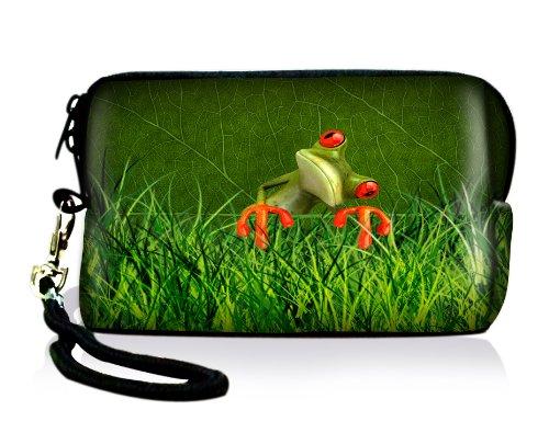 Luxburg Design bolsa de cámara funda maletín para cámara digital compacta Canon Nikon Casio Fujifilm Kodak Panasonic Pentax Rollei Samsung Sigma, motivo: Rana en la hierba