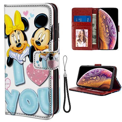 DISNEY COLLECTION Funda tipo cartera para iPhone Xs Max con diseño de Mickey Mouse y tarjeta de crédito, cierre magnético, función atril, resistente
