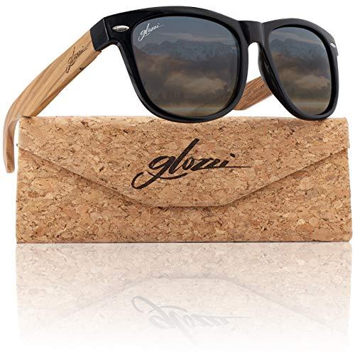 glozzi Sonnenbrille Herren und Damen Holz Polarisiert und Entspiegelt UV400 Schwarz mit Holzbügeln aus Zebrano und Brillenetui aus Kork